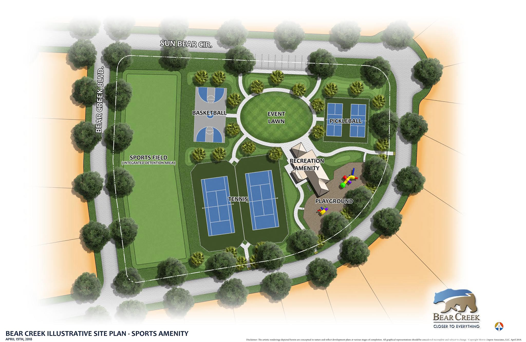 Photo of the Bear Creek Site Plan, showing sports amenities